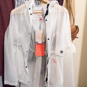 hunter transparent white raincoat